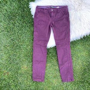 Level 99 Liza skinny cargo maroon pants 30